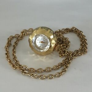 Vintage Tempo Swiss Women's Ball Watch Pendant Necklace-17 Jewels-working-w
