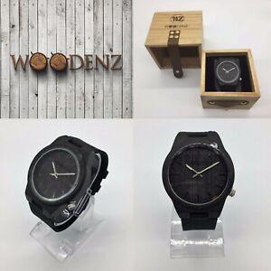 Men's Handcrafted Ebony Wood Watch, Japanese Miyota Quartz, Real Leather Strap