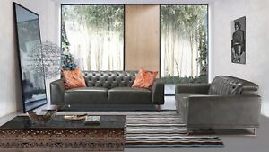 Stupendous Details About 2 Pc Dark Iron Gray Full Italian Leather Sofa Loveseat Living Room Set Inzonedesignstudio Interior Chair Design Inzonedesignstudiocom