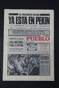 Antiguo Periodico PUEBLO, publicacion 21 Febrero 1972.  Perfectamente conservado