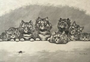 Louis-William-Wain-1860-1939-Hypnotized-Cat-Insect-Engraving-towards-1880-Cats