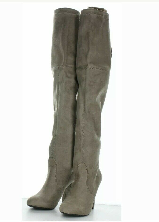 Steve Madden NEW Taupe Suede Tall Heel Woman's Boots Sz  8.5M Retail