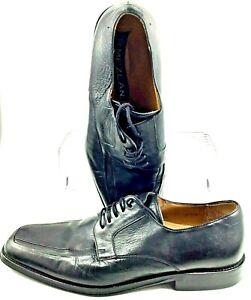 Mezlan-Shaw-Oxfords-Men-039-s-10-M-Black-Leather-Apron-Toe-Lace-Up-Dress-Shoes-Spain
