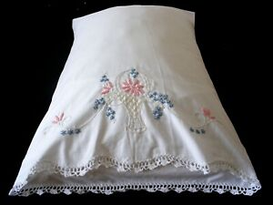 New-PillowCases-2-Hand-Embroidered-Crochet-Sateen-Cotton-Standard-Basket-White