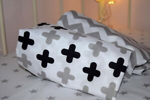 2 x Cot Bed Toddler Fitted Sheet  COTTON Black White chevron stars monochrome