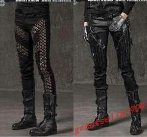 Men/'s Rivet Hip Hop Casual Rave Punk Harem Pants Gothic Rock Chain ZIP Trousers