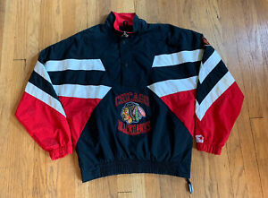 Chicago-Blackhawks-Vintage-90-s-Half-Zip-Starter-Jacket-Size-Medium-EUC-Rare
