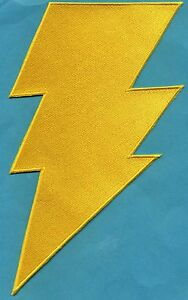SHAZAM-CAPT-MARVEL-6-034-x10-034-Large-Fully-Embroidered-Yellow-Chest-Insignia-Patch