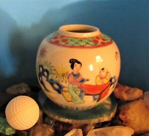 Antique Late 19th C. Chinese Famille Rose Porcelain Figures Vase  QIANLONG Mark