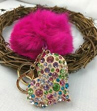 New Heart With multicolored Rhinestones Fur Pompom Ball Bag Charm/Keyring.GIFT.!