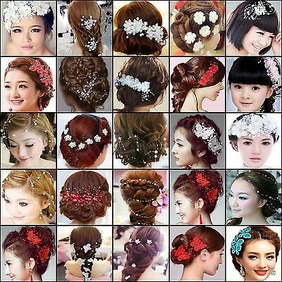 NT Bridal Wedding Pearl Crystal Rhinestone Hair Clip Pin Headpiece Accessories