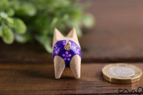 Hecho a mano pequeño de madera Cerdo Púrpura Rosa Lunares Pantalones Cortos Ornamento De Regalo De Madera De Animales