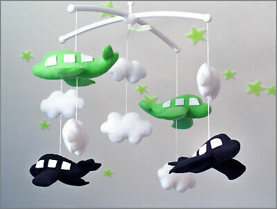 Handmade Airplane Baby Nursery Mobile With White Clouds