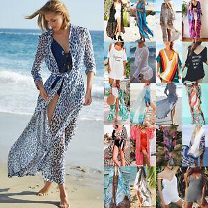Damen-Bikini-Cover-Up-Vertuschen-Strand-Kaftan-Minikleid-Cardigan-Longshirt-Top