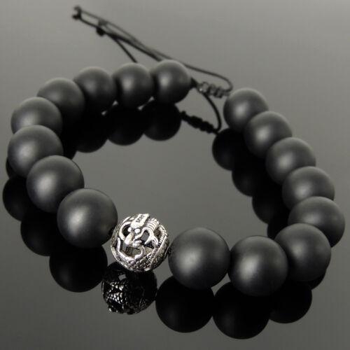 Healing Dragon Bead Bracelet Matte Black Onyx 12 mm Gemme Argent sterling 1548