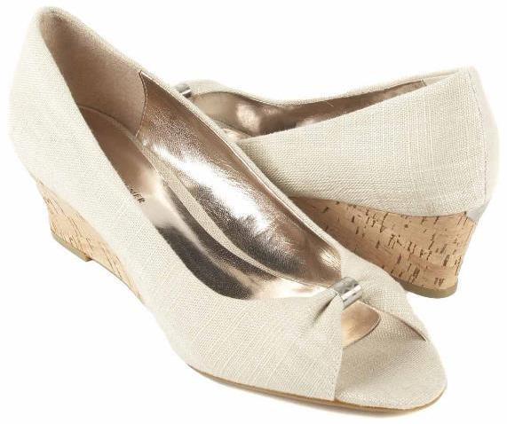 New ETIENNE AIGNER Women Fabric Cork Wedge Heel Peep Toe Pump shoes Sz 9.5 M