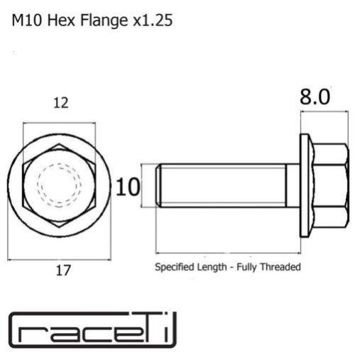 M10 Filetage Complet Titane Tête Hexagonale Bride Boulons Vis 20 25 30 35