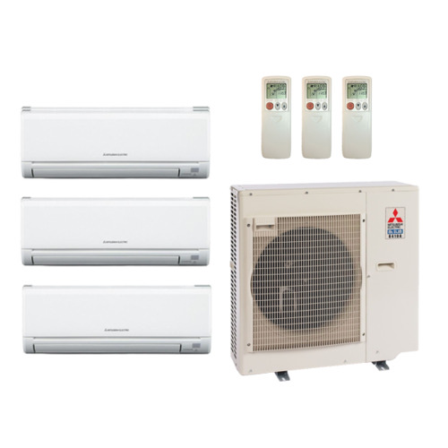 39 000 BTU 19 Seer Mitsubishi Multi Zone Mini Split Heat Pump System  9k 15k 15k