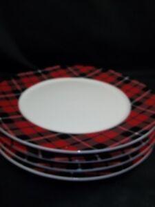 Image is loading Pottery-Barn-Denver-Plaid-Rim-Dinner-Christmas-Holiday- & Pottery Barn Denver Plaid Rim Dinner Christmas Holiday Plates Set of ...