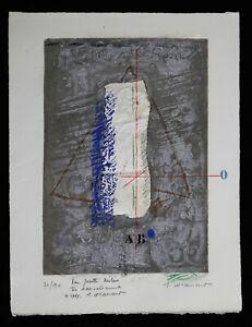 Lithographie-en-relief-composition-signee-dedicacee-Pour-Josette-Meleze-1987