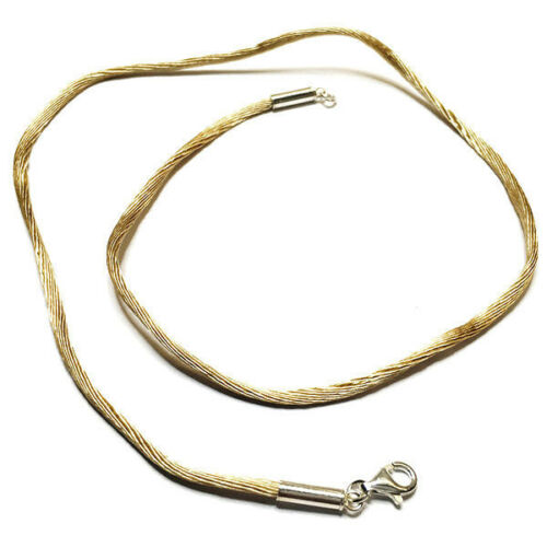 Collier cordon fil de soie noisette et argent 925 du 38 cm au 50 cm