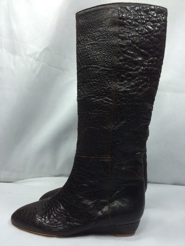 LOEFFLER RANDALL MATILDE 695 Tall Knee High Low Wedge Boots Pebbled Brown NEW 7