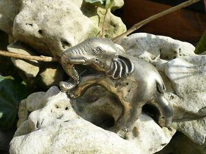 Praktisch Neusilber, Alpaka, Elefant, Rüssel Unten, Traditionelle Handarbeit, Tibet Silber Schrecklicher Wert