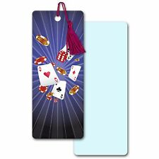 3D Lenticular Bookmark Book Mark Vegas Poker Playing Card Chips #BM25x62-953#