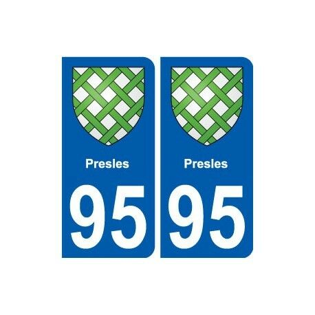 95 Presles blason autocollant plaque stickers ville droits