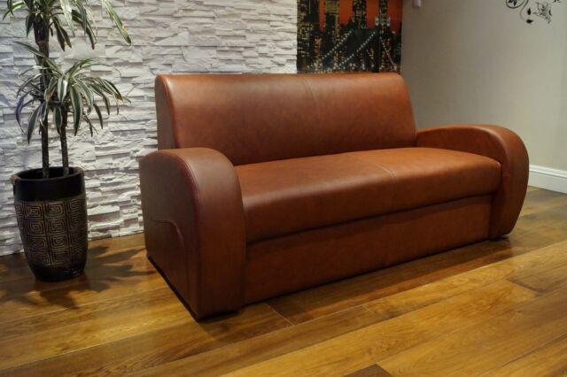 Braun Echtleder Rindsleder Sofa Couch  mit Schlaf Funktion  100% Echt Leder