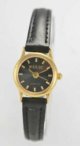 Relic-Women-039-s-Stainless-Silver-Gold-Black-Leather-Quartz-Battery-Watch