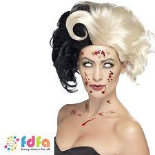 EVIL CRUELLA DE VILLE MADAME ZOMBIE WIG - womens ladies fancy dress costume