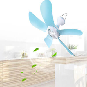 220V-Portable-Easy-Hang-5-Blue-Blades-Hanging-Mini-Ceiling-Fan-With-1-6M-Cord
