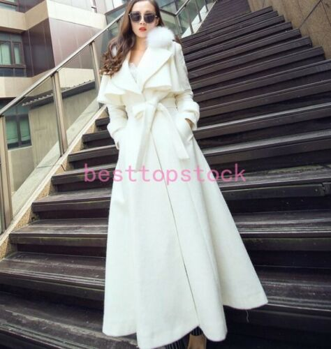 Real Collar Outwear Belt Slim Fur Fox Thicken Cashmere Kvinders Coat Trench zZFqEqX