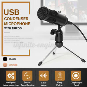 USB-Condenser-Microphone-Recording-Audio-Studio-Brocasting-w-Tripod-Stand