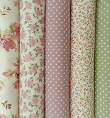 Fabric fat quarters dusky pink & sage green florals & polka dots 100% cotton x 5