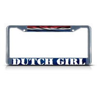 Dutch Girl, Netherland Wavy Flag Metal License Plate Frame Tag Border Two Holes