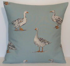 """Clarke and Clarke Geese Duck Egg 16"""" Cushion Cover"""