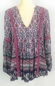 Altar-d-State-Purple-Floral-Boho-Hippie-Peasant-Top-Long-Sleeve-V-Neck-Medium