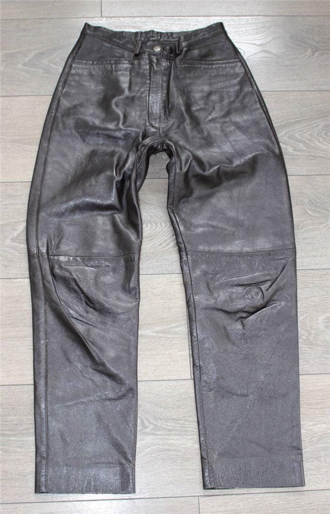 Brown Real Leather Biker Motorcycle Women's Trousers Pants Jeans Size W25  L26