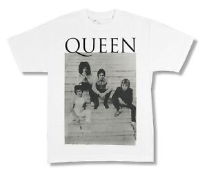259bc21ab Queen Stairs Band Pic Image White T Shirt New Official Band Merch ...