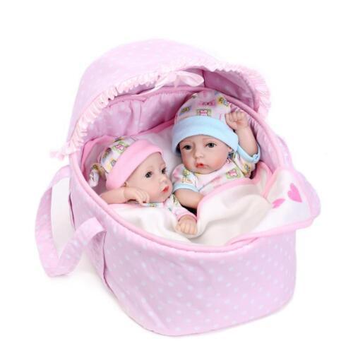"""2PCS 11/"""" Handmade Reborn Newborn Baby Doll Soft Silicone Vinyl Bath Boy Girl Toy"""