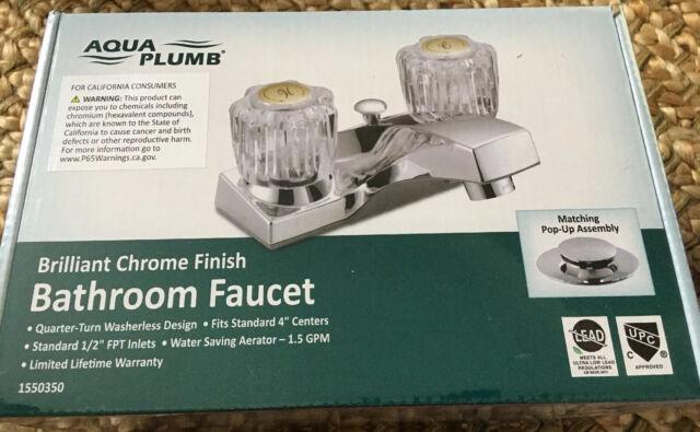 Aqua Plumb Classic Two Handle Bathroom Faucet w/Plastic Pop-Up 1550350 NEW