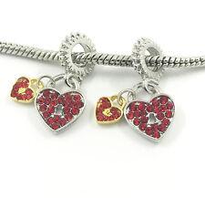 2pcs Lock Silver European Charm Crystal Spacer Beads Fit Necklace Bracelet DIY