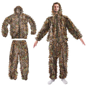 898eedfd2fea7 Image is loading Leaf-Ghillie-Suit-Woodland-Camo-Camouflage-Clothing-3D-