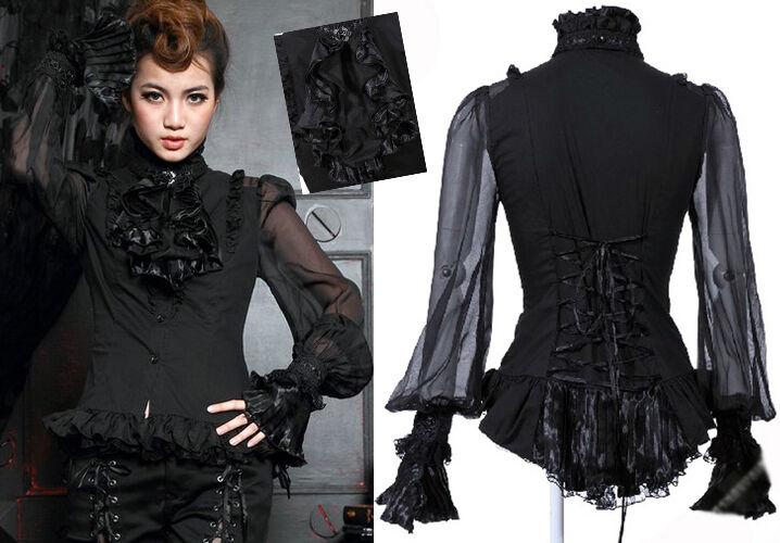 Blause Hemd Gothic Lolita Steampunk Barock Viktorian Spitze Jabot Rüsche Schwarz