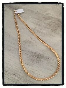 Collier-Maille-Tressee-Palmier-45-cm-Plaque-Or-18-carats-Garanti-Bijoux-Femme