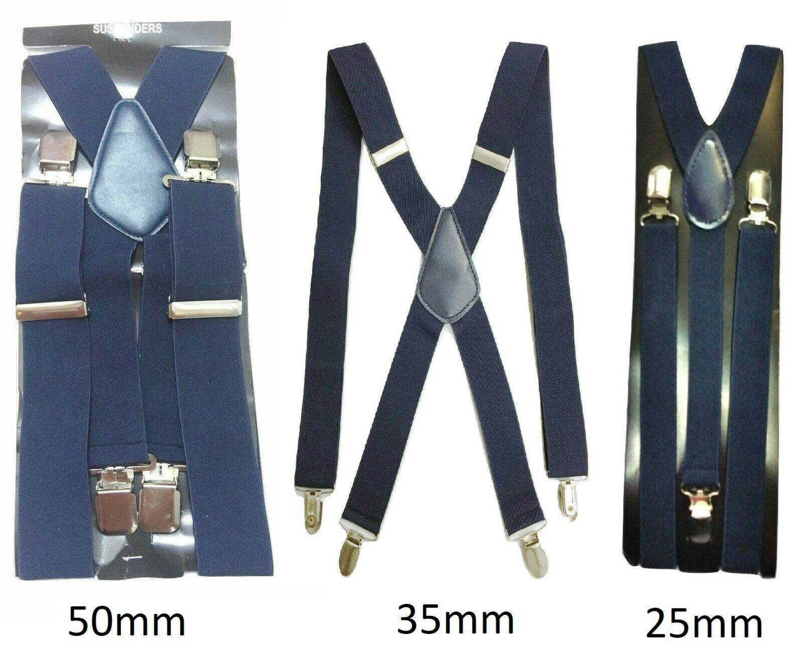 Navy Blue Mens Womens Suspenders Elastic Durable Strong 25mm 35mm 50mm