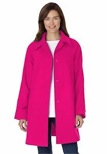 best sale new season superior materials Details about NIP WOMAN WITHIN Plus Size 32W A-Line Lined Hot Pink Wool  Blend Coat