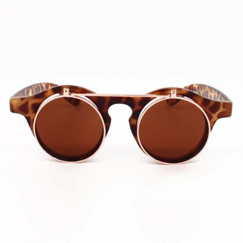Flip Up Vintage Round Steampunk Lennon Sunglasses Retro Clear Lens Frame Unisex